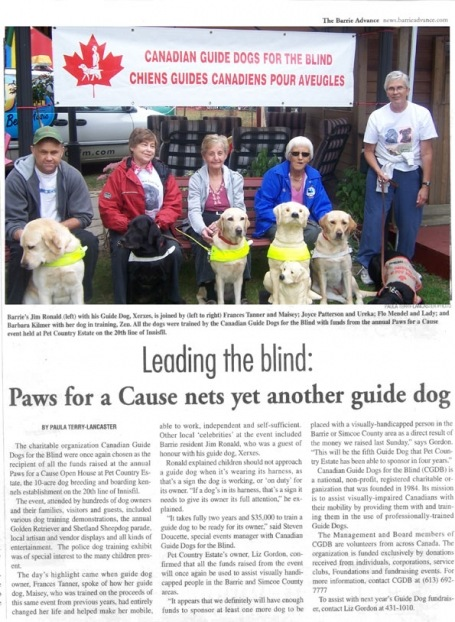 <b>Guide Dogs For The Blind — The Barrie Advance</b>--