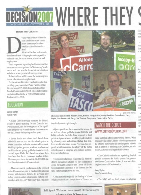 <b>Where They Stand: the Candidates Speak Out — The Barrie Advance</b>--