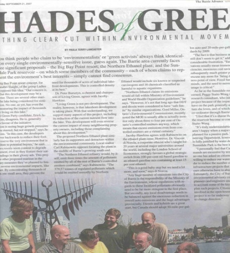 <b>Nothing Clear Cut within Local Environmental Movement – The Barrie Advance</b>--
