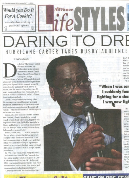 <b>Hurricane Carter Takes Busby Audience by Storm — The Barrie Advance</b> image